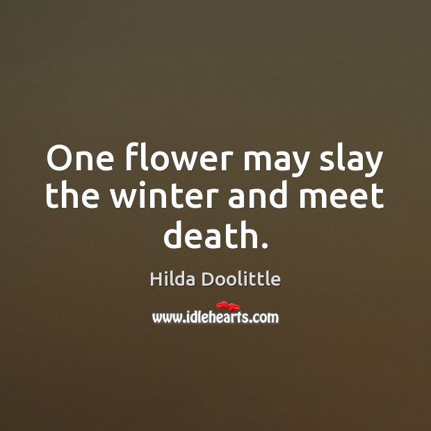 One flower may slay the winter and meet death. Hilda Doolittle Picture Quote