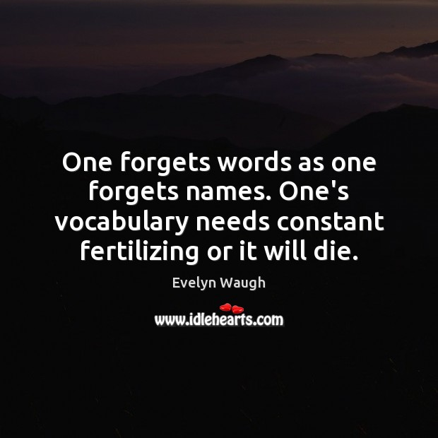 Image, One forgets words as one forgets names. One's vocabulary needs constant fertilizing