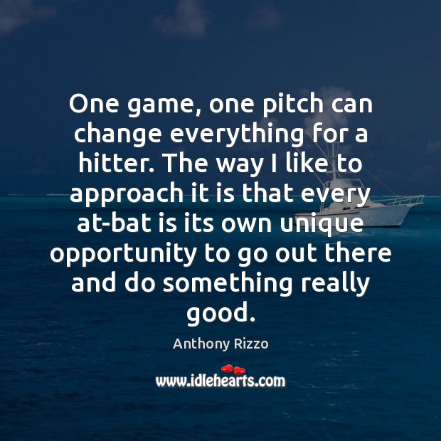 Image, One game, one pitch can change everything for a hitter. The way