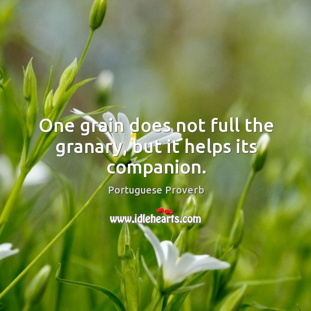 One grain does not full the granary, but it helps its companion. Image