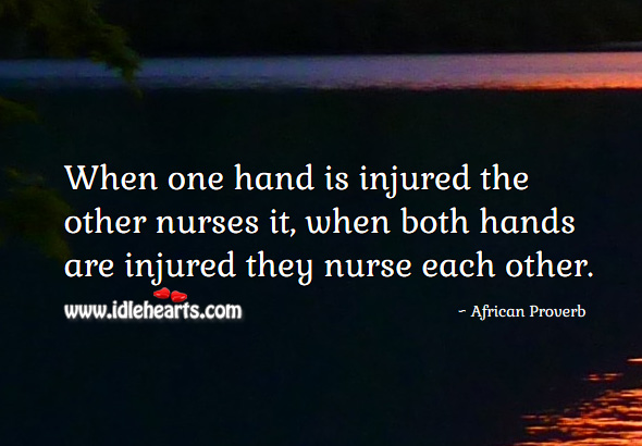 Image, When one hand is injured the other nurses it, when both hands are injured they nurse each other.