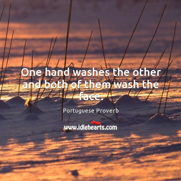 One hand washes the other and both of them wash the face. Image
