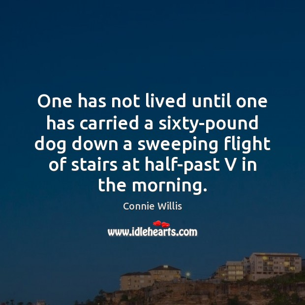 One has not lived until one has carried a sixty-pound dog down Image