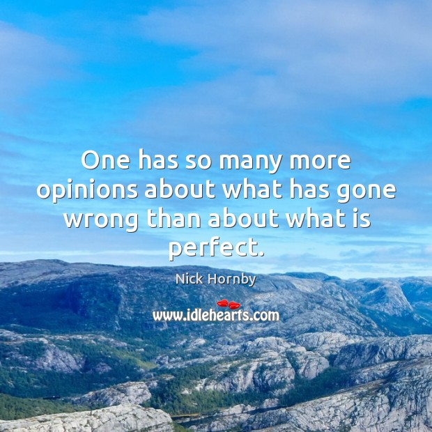 One has so many more opinions about what has gone wrong than about what is perfect. Nick Hornby Picture Quote