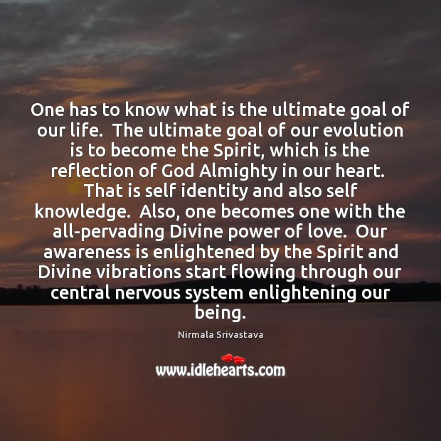 One has to know what is the ultimate goal of our life. Nirmala Srivastava Picture Quote