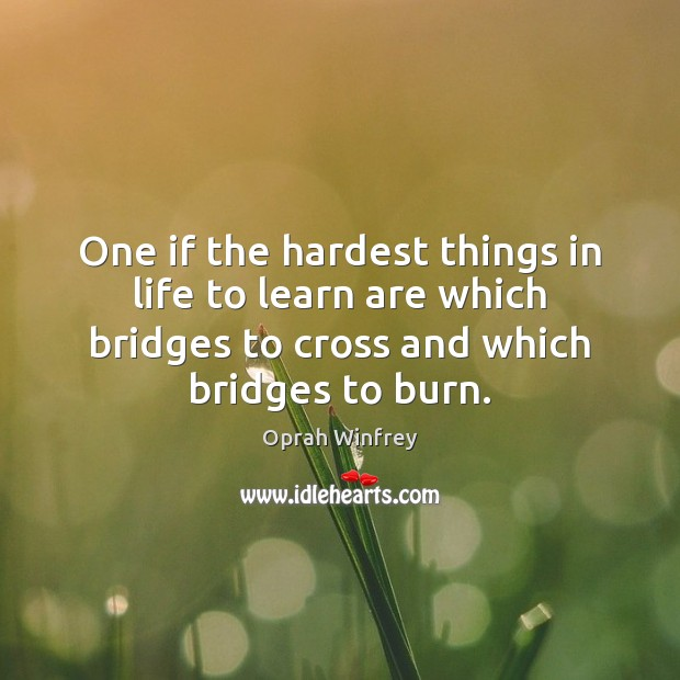 Image, One if the hardest things in life to learn are which bridges