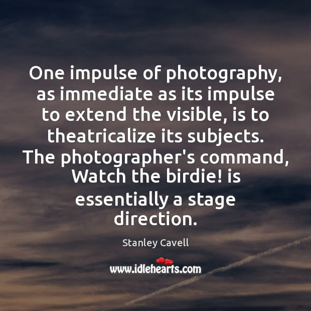 One impulse of photography, as immediate as its impulse to extend the Image