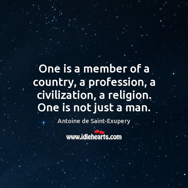 One is a member of a country, a profession, a civilization, a Image