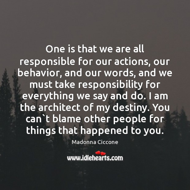 Image, One is that we are all responsible for our actions, our behavior,