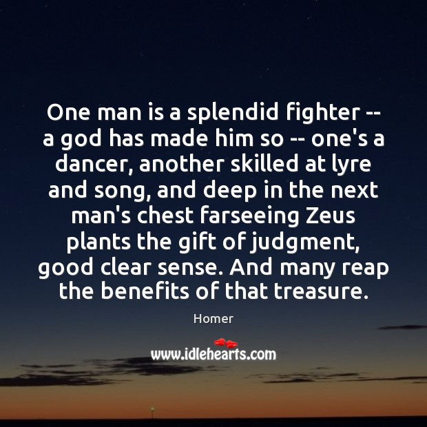 One man is a splendid fighter — a God has made him Image