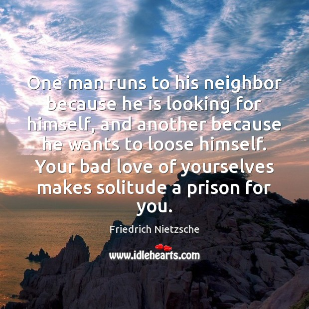 Image, One man runs to his neighbor because he is looking for himself,