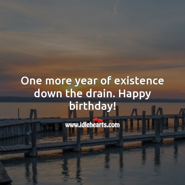 One more year of existence down the drain. Happy birthday! Funny Birthday Messages Image