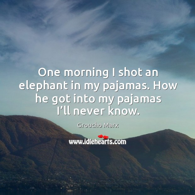 One morning I shot an elephant in my pajamas. How he got into my pajamas I'll never know. Image
