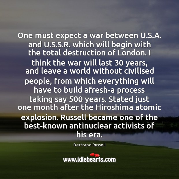 One must expect a war between U.S.A. and U.S. Image