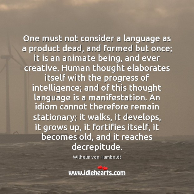 One must not consider a language as a product dead, and formed Image