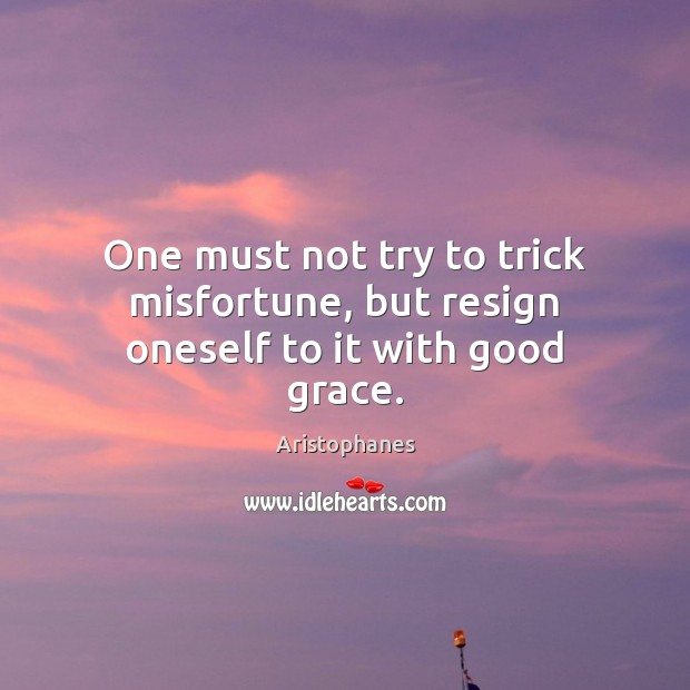 One must not try to trick misfortune, but resign oneself to it with good grace. Image