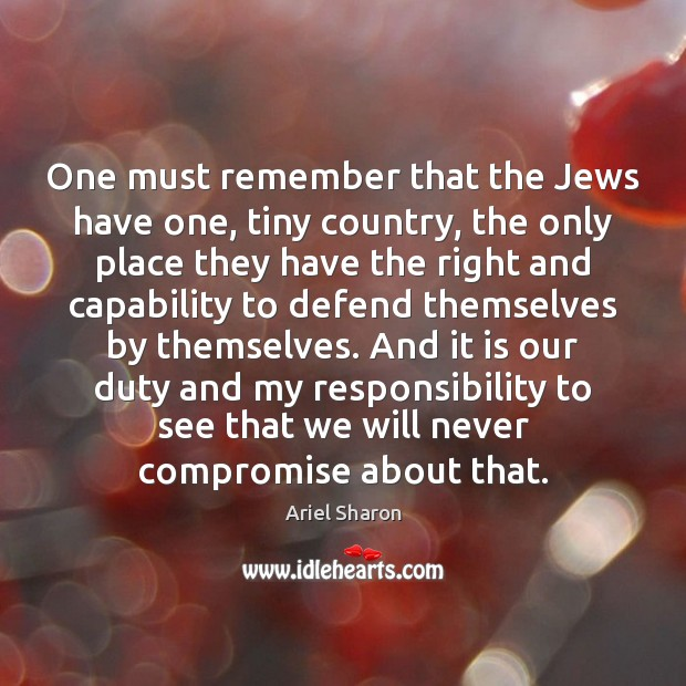 One must remember that the Jews have one, tiny country, the only Image
