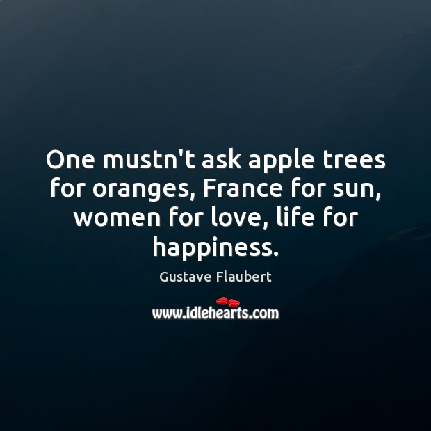 Image, One mustn't ask apple trees for oranges, France for sun, women for