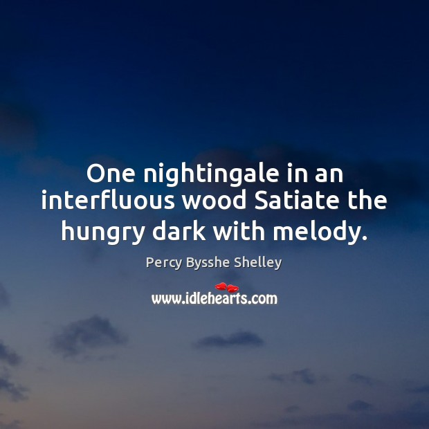 One nightingale in an interfluous wood Satiate the hungry dark with melody. Percy Bysshe Shelley Picture Quote