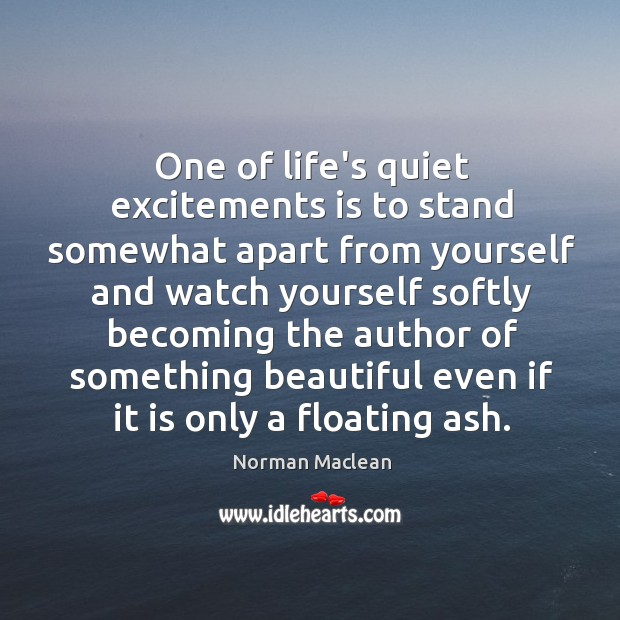 One of life's quiet excitements is to stand somewhat apart from yourself Norman Maclean Picture Quote