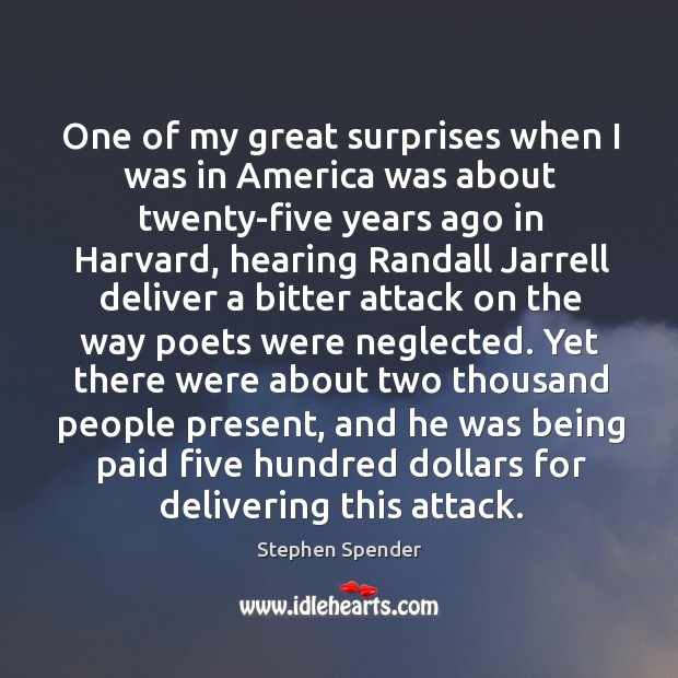 One of my great surprises when I was in America was about Stephen Spender Picture Quote