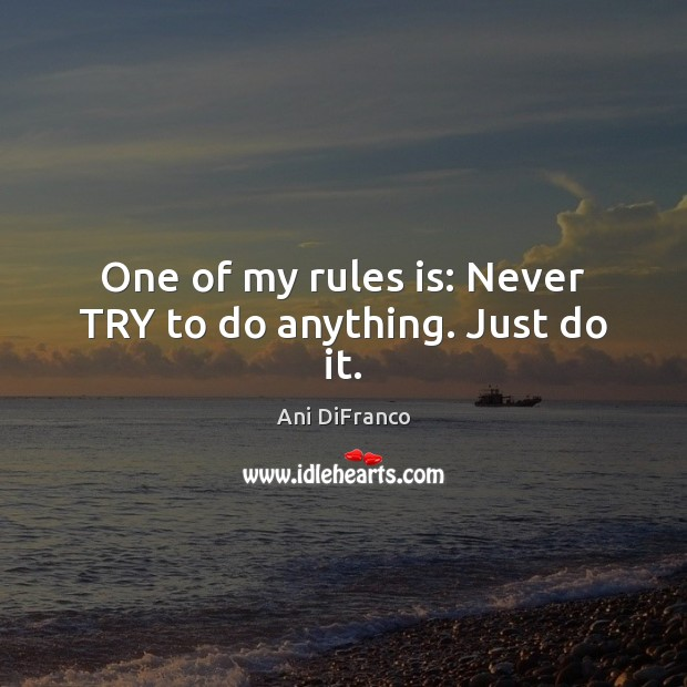 One of my rules is: Never TRY to do anything. Just do it. Image