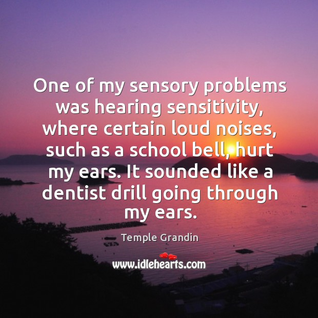 One of my sensory problems was hearing sensitivity, where certain loud noises Image