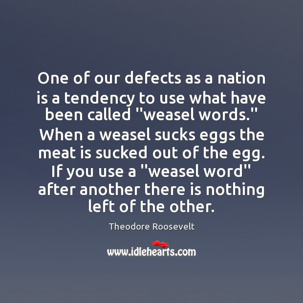 One of our defects as a nation is a tendency to use Theodore Roosevelt Picture Quote