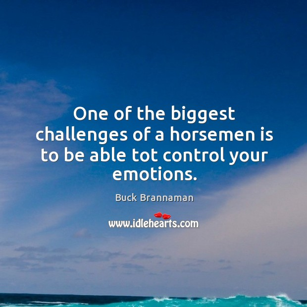 Image, One of the biggest challenges of a horsemen is to be able tot control your emotions.