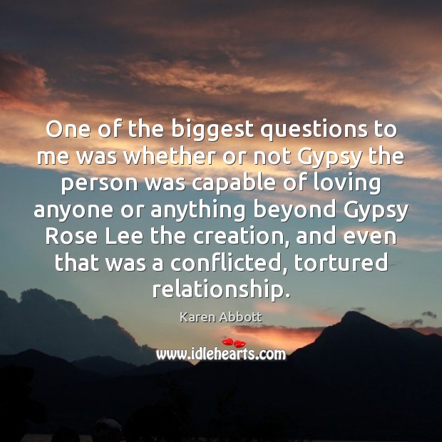 One of the biggest questions to me was whether or not Gypsy Image