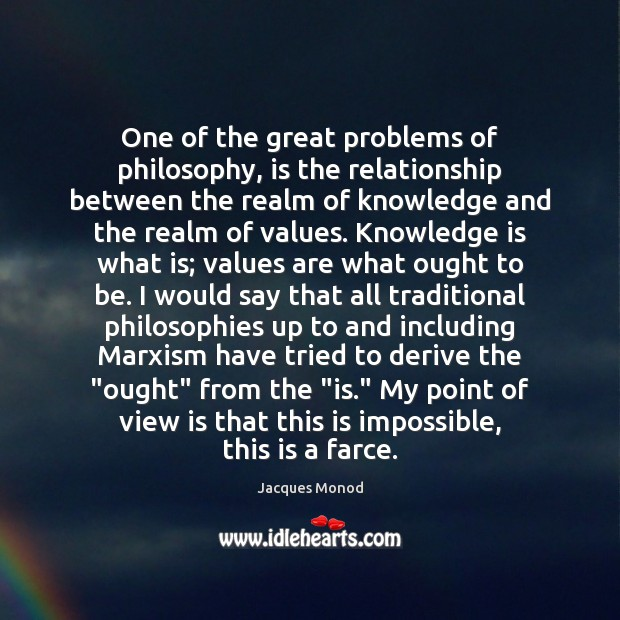 One of the great problems of philosophy, is the relationship between the Knowledge Quotes Image