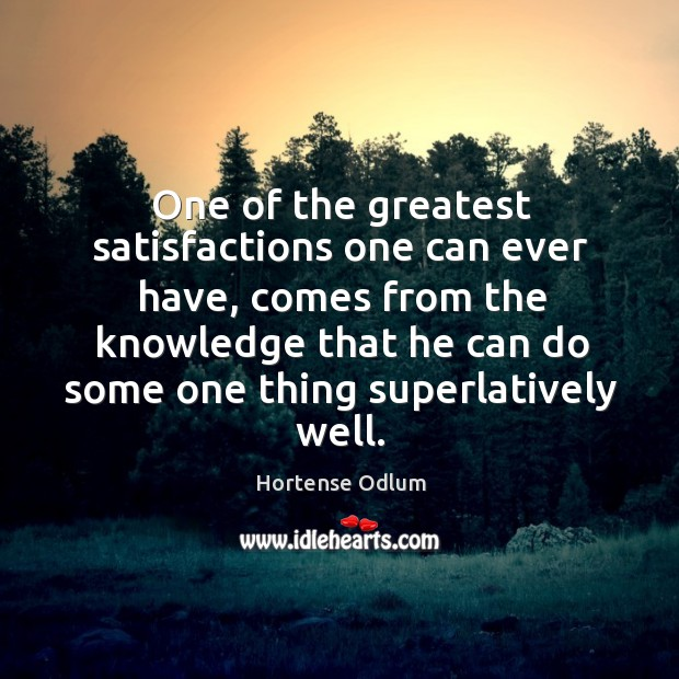 One of the greatest satisfactions one can ever have, comes from the knowledge that Hortense Odlum Picture Quote