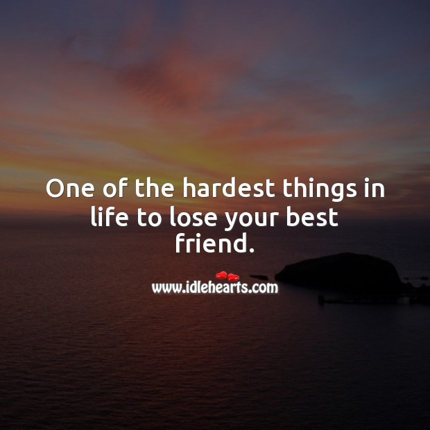 One of the hardest things in life to lose your best friend. Best Friend Quotes Image
