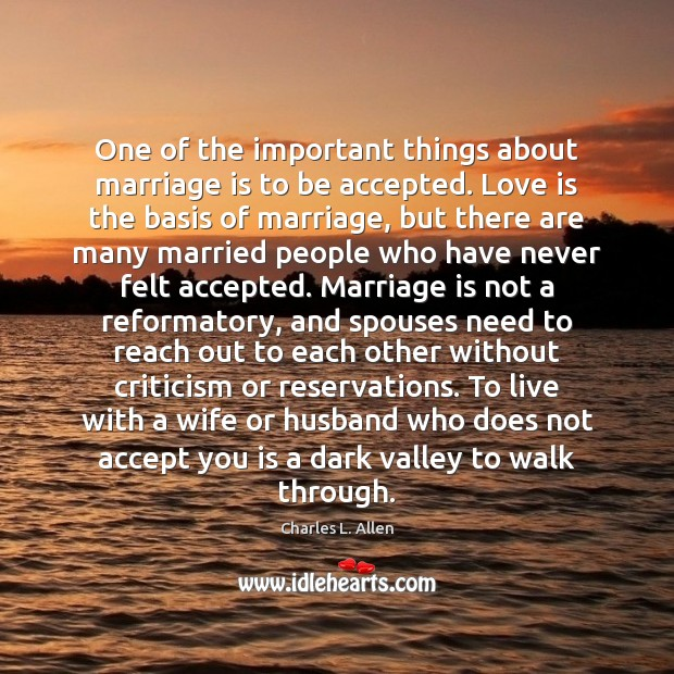 One of the important things about marriage is to be accepted. Love Image