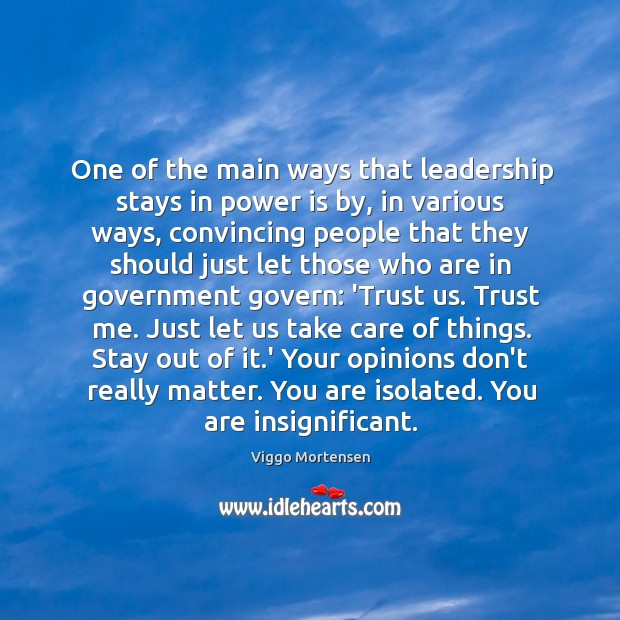 One of the main ways that leadership stays in power is by, Image