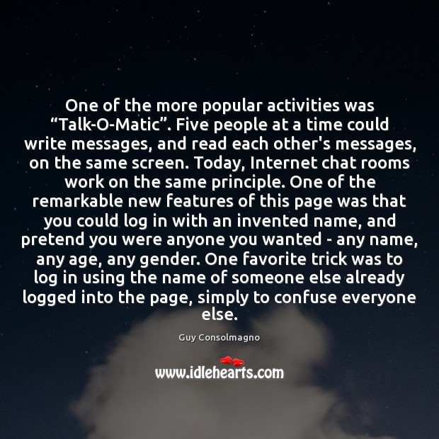 """One of the more popular activities was """"Talk-O-Matic"""". Five people at a Image"""