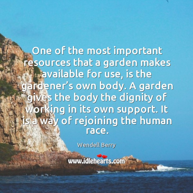 One of the most important resources that a garden makes available for use, is the gardener's own body. Image
