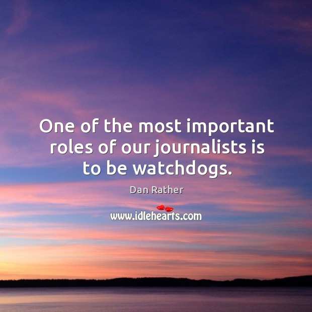 Image, One of the most important roles of our journalists is to be watchdogs.