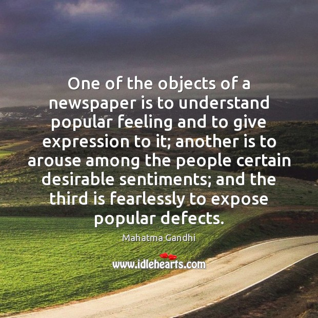 Image, One of the objects of a newspaper is to understand popular feeling