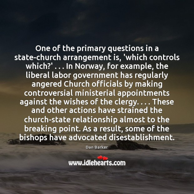 Image, One of the primary questions in a state-church arrangement is, 'which controls