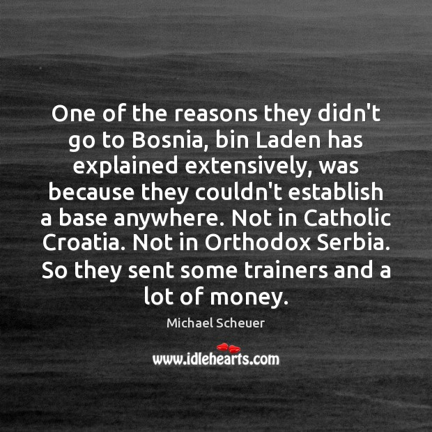One of the reasons they didn't go to Bosnia, bin Laden has Michael Scheuer Picture Quote