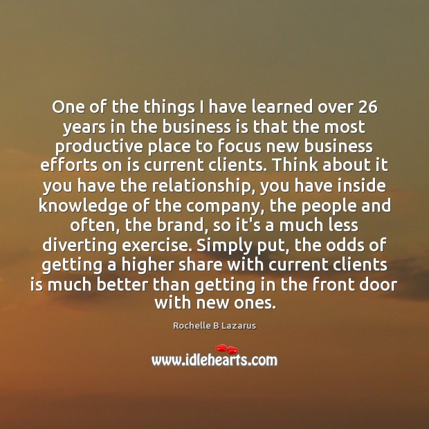 One of the things I have learned over 26 years in the business Image