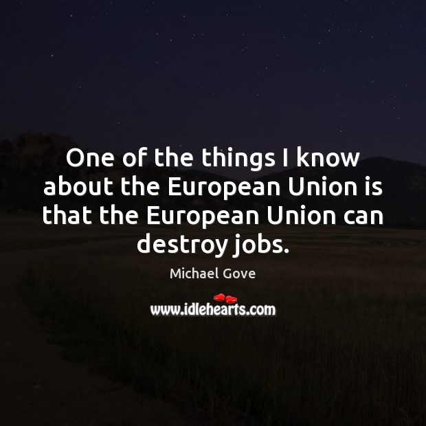 One of the things I know about the European Union is that Union Quotes Image
