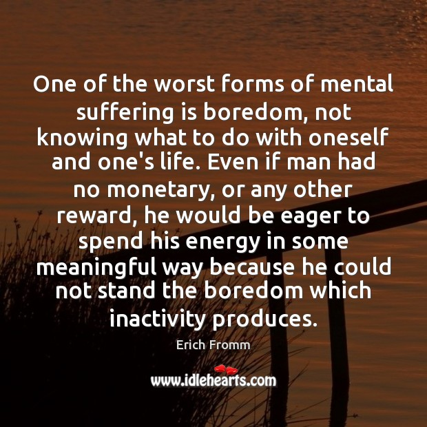 One of the worst forms of mental suffering is boredom, not knowing Image