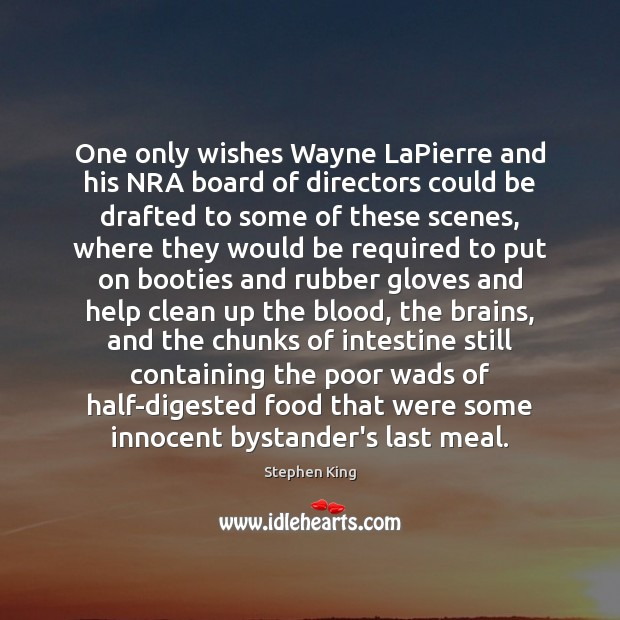 One only wishes Wayne LaPierre and his NRA board of directors could Stephen King Picture Quote