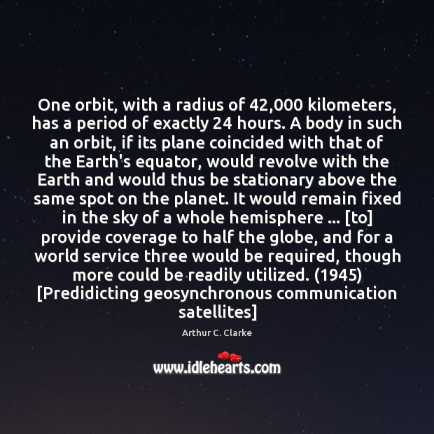 One orbit, with a radius of 42,000 kilometers, has a period of exactly 24 Image