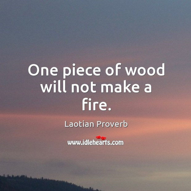 Image, One piece of wood will not make a fire.