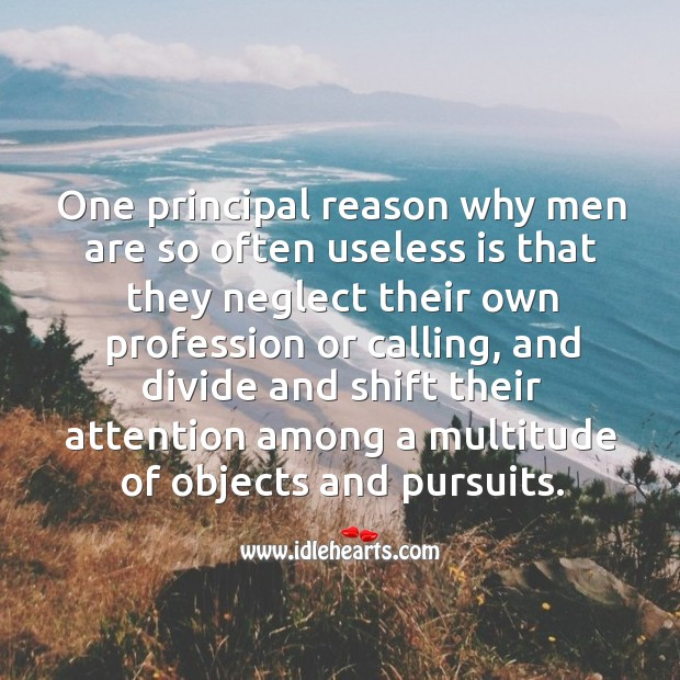 One principal reason why men are so often useless is that they neglect their own profession or calling Image