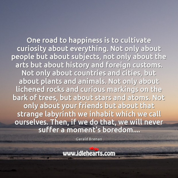 One road to happiness is to cultivate curiosity about everything. Not only Gerald Brenan Picture Quote
