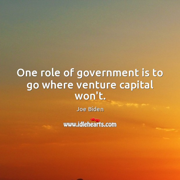One role of government is to go where venture capital won't. Joe Biden Picture Quote